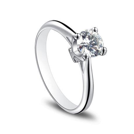 Anello Solitario Lettera Alfabeto Y - Oro Bianco e Diamante | Gemperles