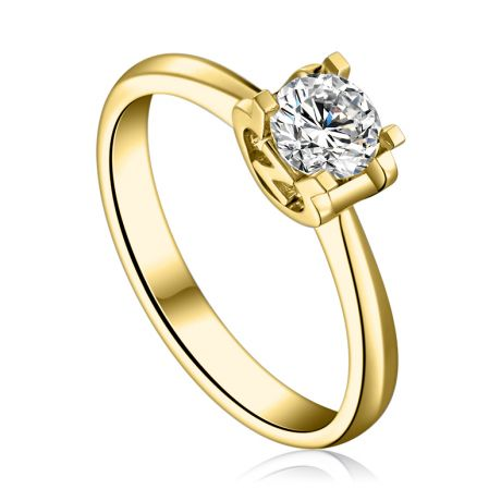 Anello Solitario Lettera Alfabeto Z - Oro Giallo e Diamante | Gemperles
