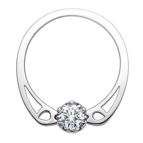 Anello di Fidanzamento Delfino - Anello/Ciondolo Solitario in Oro Bianco | Gemperles