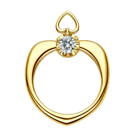 Anello Cuore di Solitario in Oro Giallo & Diamanti | Gemperles
