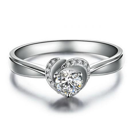 Anello Solitario di Fidanzamento Cuore di Rosa - Platino Lucido & Diamanti VS/G | Gemperles