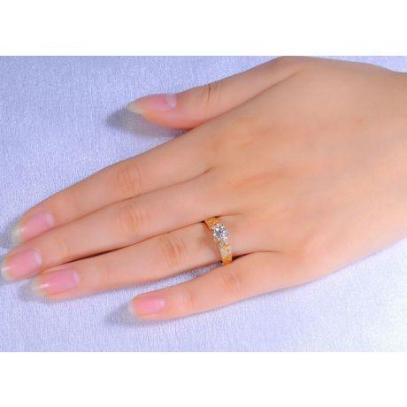 Bague Fiançaille Solitaire Or jaune. Diamants 0.80ct