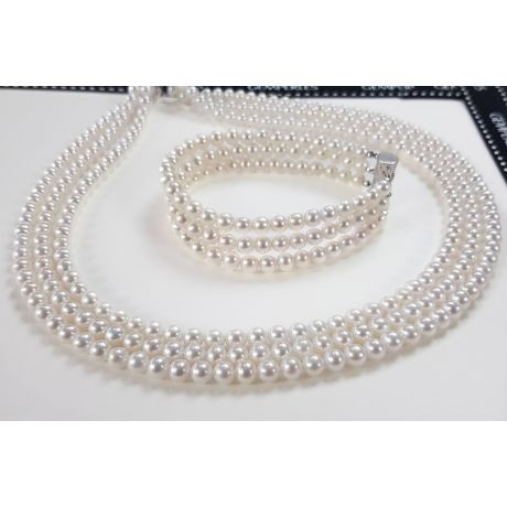 Parure Chabada I Collier, Bracelet & Boucles perles I 5/5.5mm, AAA