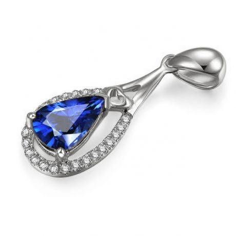 Pendentif goutte Or blanc 18 carats - Saphir et diamants