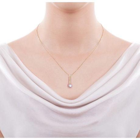 Ciondolo Hatsune Miku - Oro Giallo 18kt, Diamanti e Perla Akoya