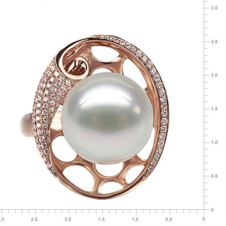 Bague corail starlette - Perle d'Australie, or rose et diamants