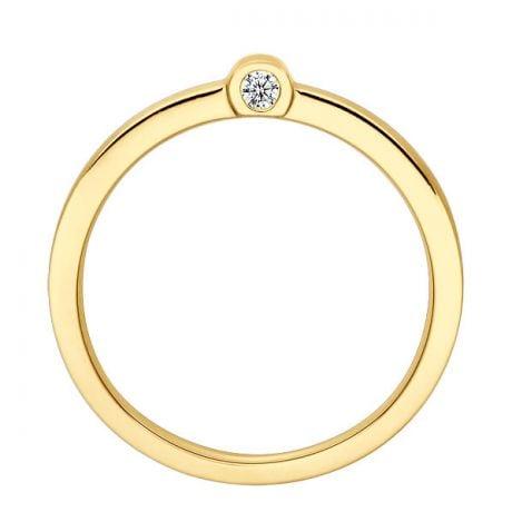 Bague anneau or jaune - 2 Diamants sertis clos | Dunham