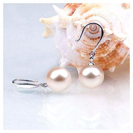 Boucles oreilles forme de crochet. Or blanc et perles blanches Chine