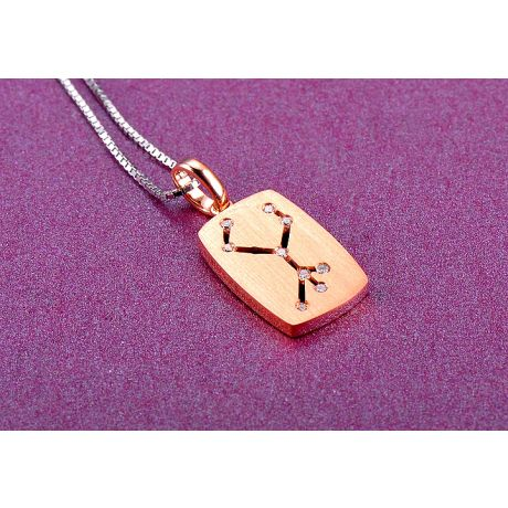 Pendentif constellation du zodiaque - Signe de la vierge - Or rose