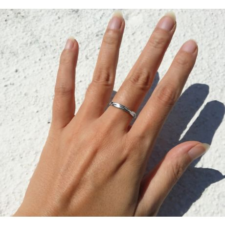 Fede Nuziale Intrecciata Blanka - Anello Doppio in Platino & Diamante