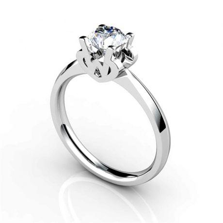 Anello Solitario Lettera Alfabeto W - Oro Bianco e Diamante | Gemperles