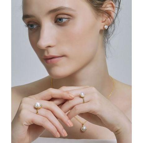 Parure Hinata di Perle Akoya del Giappone. Oro Giallo e Diamanti