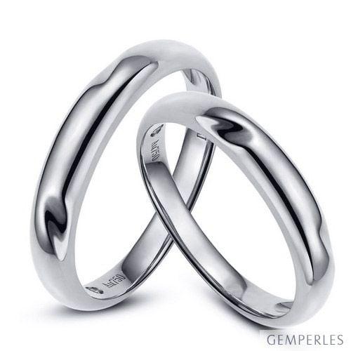 Alliances En Or Rondes Duo D Alliances Or Blanc Diamants