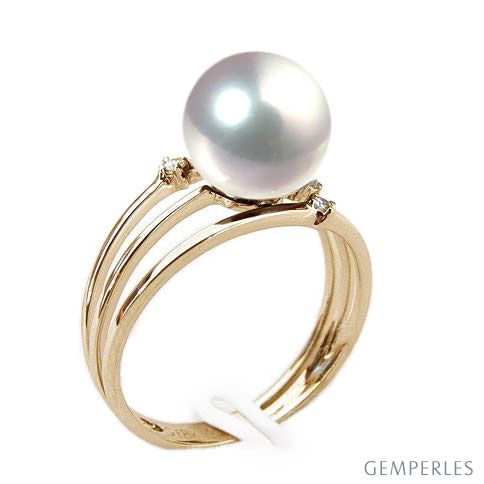 blanc Perles d/'eau douce Bague anneaux 57#