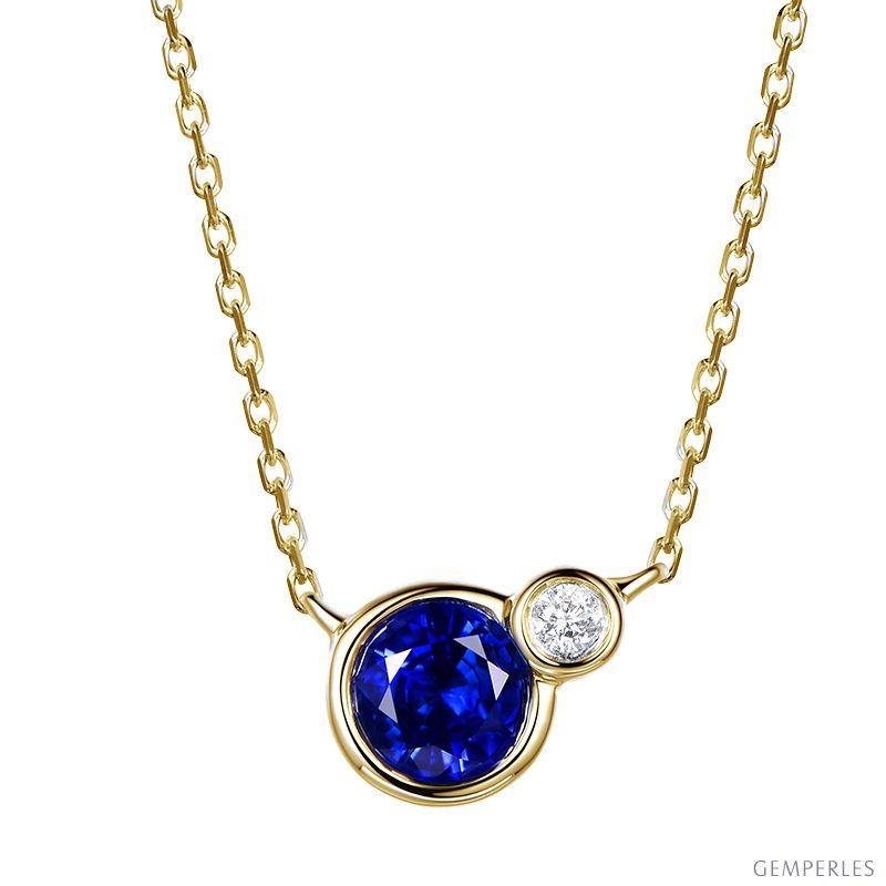 collier or diamant et saphir