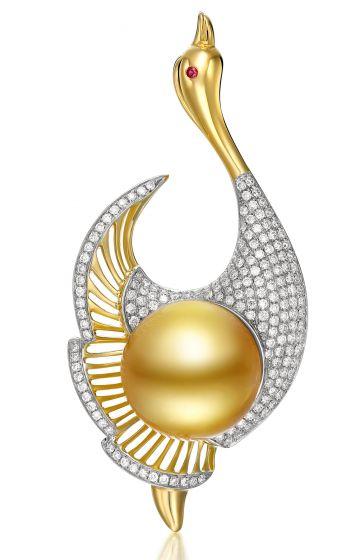 Pendentif Oiseau - Perle de culture - Perle d'Australie - Kingdom of Animals