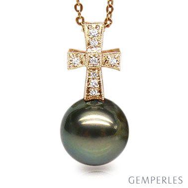 Ciondolo Croce Hat Hor - Oro Giallo & Perla di Tahiti Nera