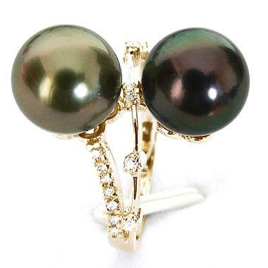 Bague Toi et Moi - You and Me - Perles de Tahiti, or jaune, diamants