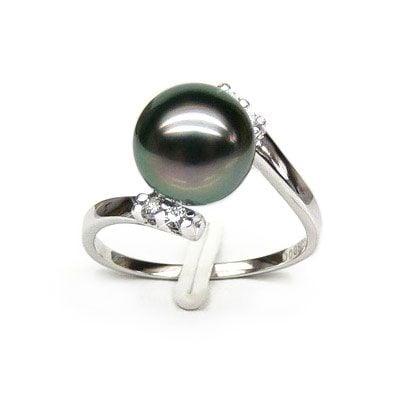 Bague solitaire ondulée - Perle de Tahiti - Or blanc, diamants