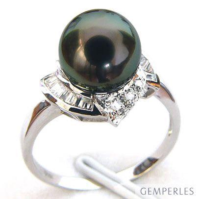 Anello Uracane - Oro Bianco, Diamanti e Perla di Tahiti - 2