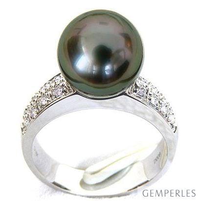 Anello Classico - Oro Bianco, Diamanti e Perla di Tahiti - 2