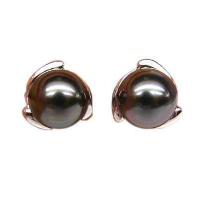 Boucles d'oreilles pétales d'or blanc 750/1000 - Perles de Tahiti