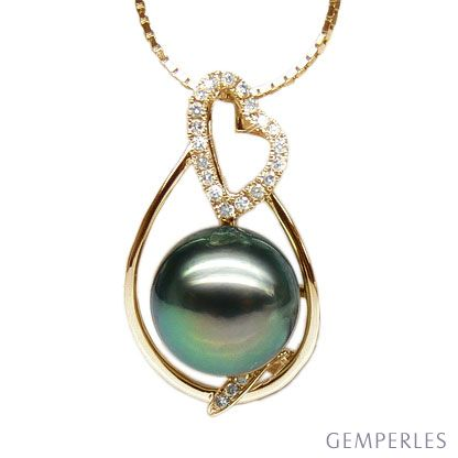 Ciondolo Forma Cuore - Oro Giallo, Diamanti e Perla Tahiti