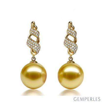 Boucles d'oreilles lignes tourbillonnantes - Pendant perle d'Australie