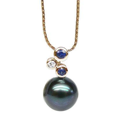Pendentif 3 circles - Perle de Tahiti - Or jaune, diamants, saphirs
