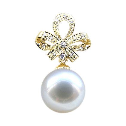 Pendentif noeud classique - Or jaune - Perle d'Australie blanche