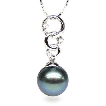 Pendentif Eubée I 3 anneaux Or blanc, diamants, Perle Tahiti