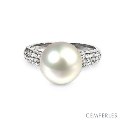 Bague de perle - Perle culture eau douce blanche - Or blanc, diamants