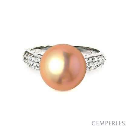 Bague de perle - Perle culture eau douce rose - Or blanc, diamants