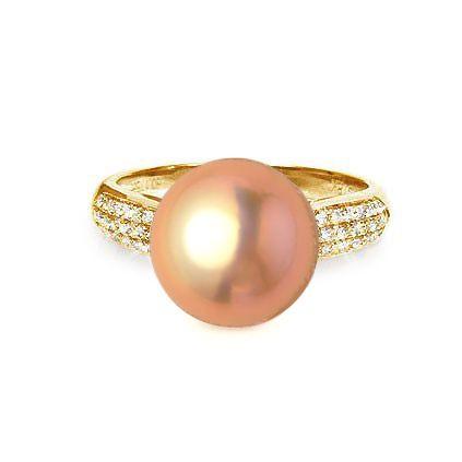 Bague Perle Culture Eau Douce Rose. Or Jaune Diamants