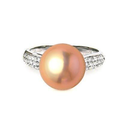Bague en Perle Culture Eau Douce Rose. Or Blanc Diamants