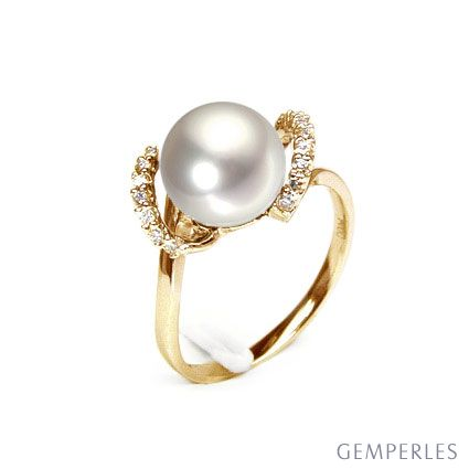 Bague en perle de culture - Perle de rivière - Or jaune, diamants