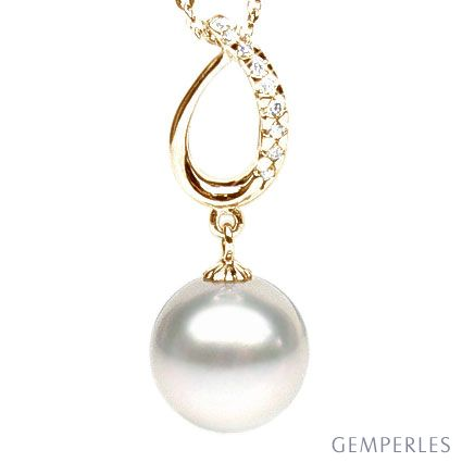 Ciondolo oro giallo, diamanti - Perla d'Australia bianca - 11/12mm
