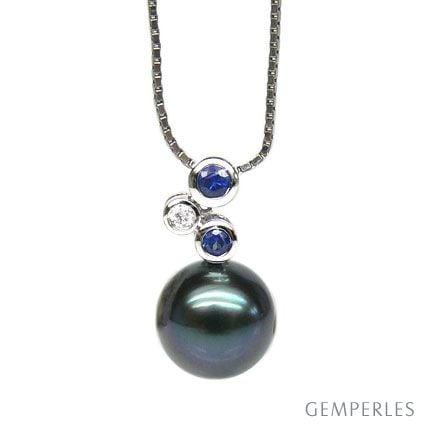Pendentif 3 circles - Perle de Tahiti - Or blanc, diamants, saphirs