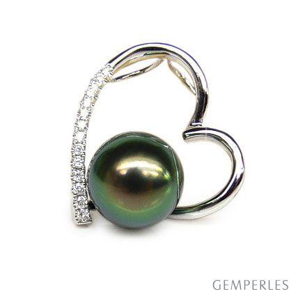 Ciondolo cuore oro bianco - Perla di Tahiti nera, pavone - 9/9.5mm