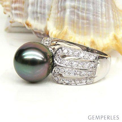 Anello Moore - Oro Bianco, Diamanti e Perla di Tahiti - 2