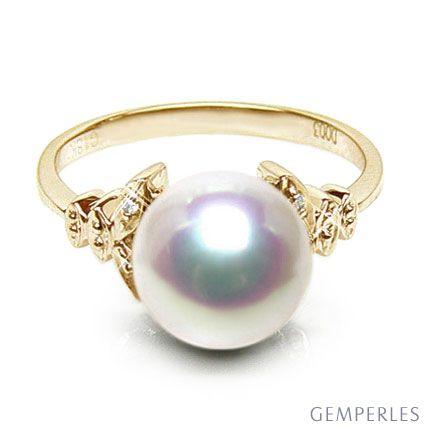 Anello Sayuri - Oro Giallo, Diamanti e Perla Akoya Bianca