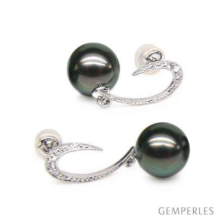 Orecchini diamanti - Pendenti oro bianco - Perle di Tahiti nere, pavone - 9/10mm