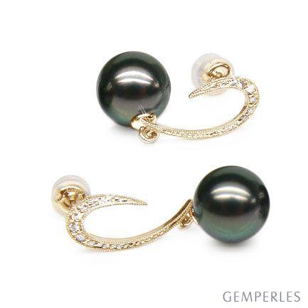 Orecchini Pendenti Gwynne - Perle di Tahiti Nere, Oro Giallo