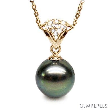 Ciondolo Donna Similans - Oro Giallo & Perla di Tahiti Nera