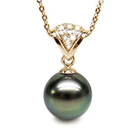 Pendentif classique - Perle de Tahiti grise foncée - Or jaune, diamant