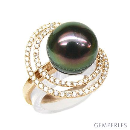Anello Arc de la Sonde - Oro Giallo, Diamanti e Perla di Tahiti