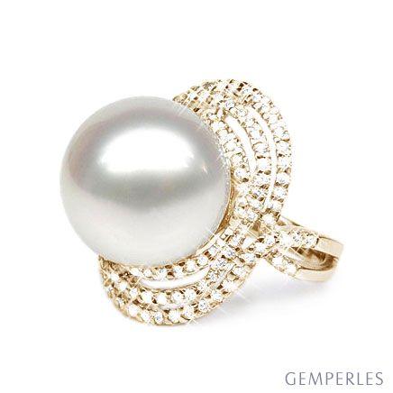 Anello Isabella - Perla dei Mari del Sud Bianca e Oro Giallo