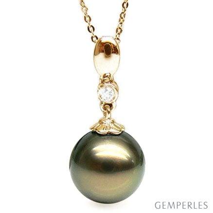 Ciondolo Alimia - Oro Giallo, Diamante e Perla di Tahiti Nera