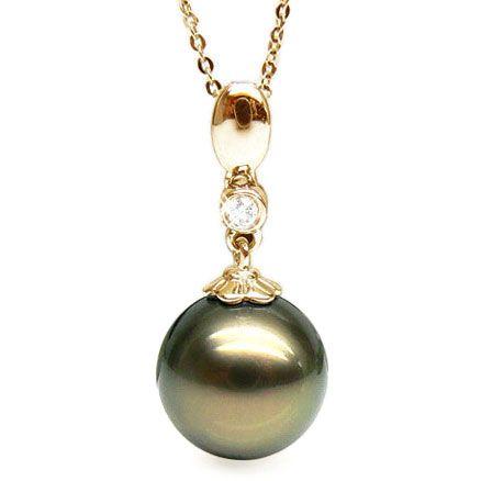Pendentif Mahina - Perle de Tahiti bronze - Or jaune, diamant serti clos