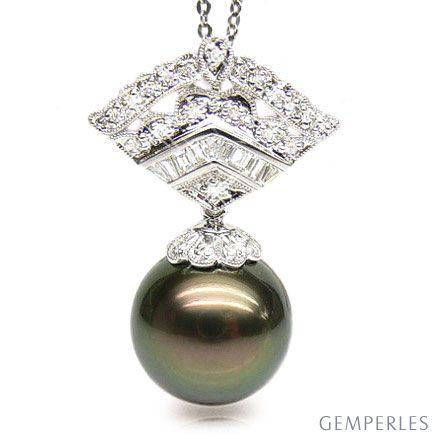 Ciondolo Téos - Oro Bianco, Diamanti e Perla di Tahiti